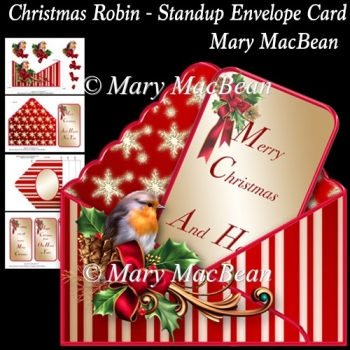 Christmas Robin - Stand-up Envelope Card