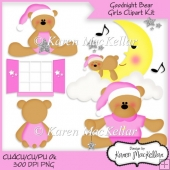 CU4CU Goodnight Girl Bears Clipart Digital Printable 300dpi