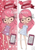 girl with pink hair and mobile phone Tall DL