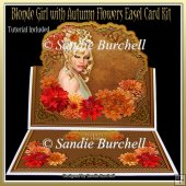 Blonde Girl with Autumn Flowers 8 x 8 Easel Card Kit