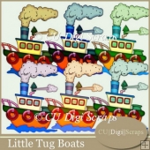 Little Tug Boats Clip Art Collection
