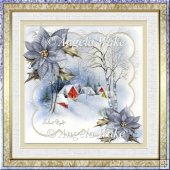 Heavy snowfall 7x7 card with decoupage