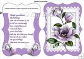 Lovely bracket card with lilac Magnolias and insert with verse