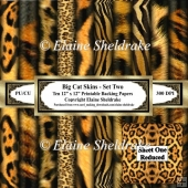 Big Cat Skins - Set Two - Ten 12 x 12 Printable Backing Papers