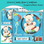 Sweet Candy Bear Cardfront with Decoupage