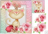 cute little kitty with mice and roses 8x8