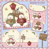 Merry Christmas Snowmen Shaped Card with freebie Gift Cards