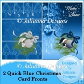 2 Quick Blue Christmas Card Fronts