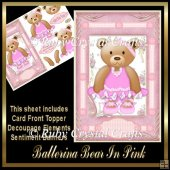 Ballerina Bear In Pink Topper