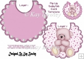 Love bib card with pearls and pink teddy