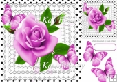 pretty pink roses on lace with polka dots & butterflies 8x8