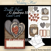 Double Heart Shape Easel Card men wedding love