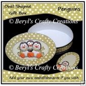 Oval Shaped Gift Box - Penguins
