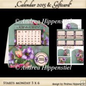 Calendar 2015 Card Start MONDAY Tulips