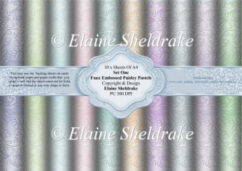 Ten A4 Faux Embossed Paisley Pastel Backing Papers Set One