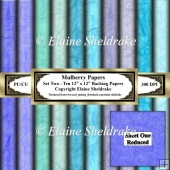Shades Of Blue Mulberry Paper - Set Two - Ten 12 x 12 Printable