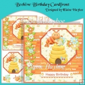Beehive Birthday Cardfront with Decoupage