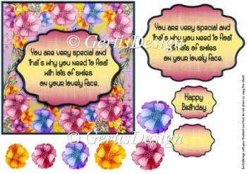 Birthday themed setiment card topper 6 inch 126