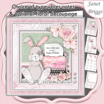 BUNNY & TYPEWRITER 7.5 Decoupage & Insert All Occasions Kit