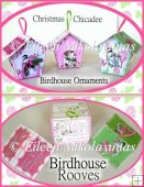 Cottage Chic Christmas Chicadee Birdhouse Ornaments, Boxes