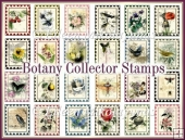 Botany Collector Vintage Set of 24 Stamps for Embellishments