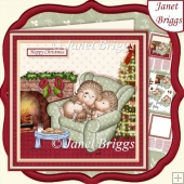 HEDGEHOGS WAITING FOR SANTA CHRISTMAS 7.5 Decoupage & Insert Kit