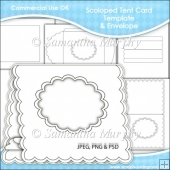 Scalloped Tent Card & Envelope Template Commercial Use