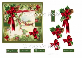 Sleigh ride and holly 6x6 card