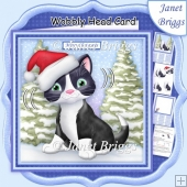 CHRISTMAS CAT WOBBLY HEAD CARD 7.5 Decoupage & Insert Mini Kit