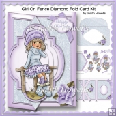 Girl On Fence Diamond Fold Card Front