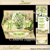 Daisies Easel Card white green