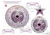 Bright Blessings Pentacle (2) Card Topper With Decoupage