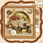 Steampunk Gold Car 7.5 Decoupage Ages & Insert Kit for Men