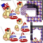 July 4th Celebration Bear Decoupage Set