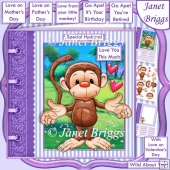 LOVE YOU THIS MUCH Monkey 7.5 Decoupage & Insert Kit