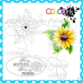 Sun Flower and Sentiment Digital Stamps