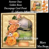 Summer Days Golden Roses Decoupage Card Front
