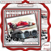 MOTOR RACING WELL OILED MACHINE 7.5 Decoupage Male Mini Kit
