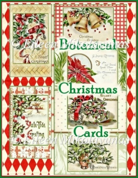 Vintage Botanical Christmas Card Fronts Set of 6