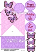 Butterflies and Lace Diamond Top Spring Card In Purple and Pink