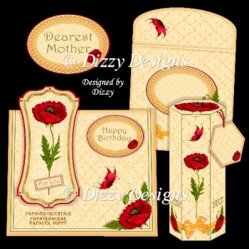 Papaver Orientale Card Kit with freebie Gift Box