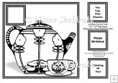 "Art Deco Tea For You - 8"" x 8"" Digi Stamp Card Topper"