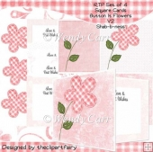 Square Cards Set of 4 - Button It Shab-b-ness(Retiring in August