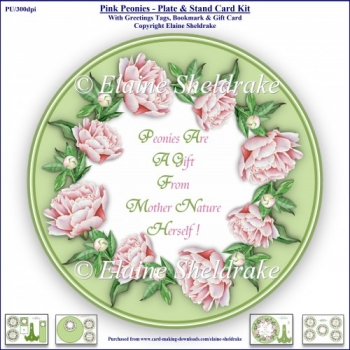 Pink Peonies - Plate & Stand Card Kit