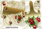 Lovely Roses in Gold Scalloped large book, Gold stand mini kit