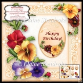 "Perfect Pansies - 6"" x 6"" Card Topper + Decoupage & Tags"