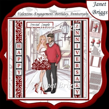 ROMANTIC COUPLE 7.5 Decoupage Easy Cut Words & Alphabet Kit