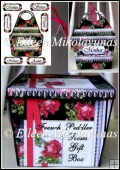 French Peddler Roses Large Handled Feminine Gift Box Decoupage