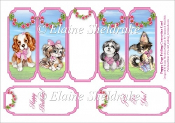 Puppy Dogs - Slim Five Fold Concertina Card