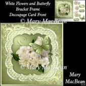 White Flowers and Butterfly - Bracket Frame Decoupage Card Front
